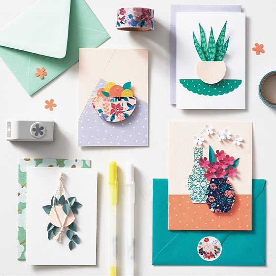 Cute Handmade Cards with Plants