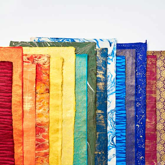 Assorted Handmade Bright Colored Papers