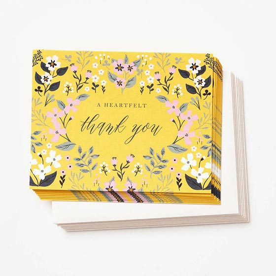 Yellow primrose design thank you note sets