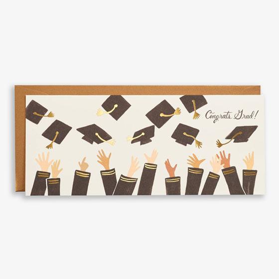 Gold Foil Caps in the Air Graduation Card