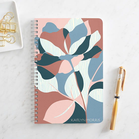 Custom Journal shown with an Abstract Floral design