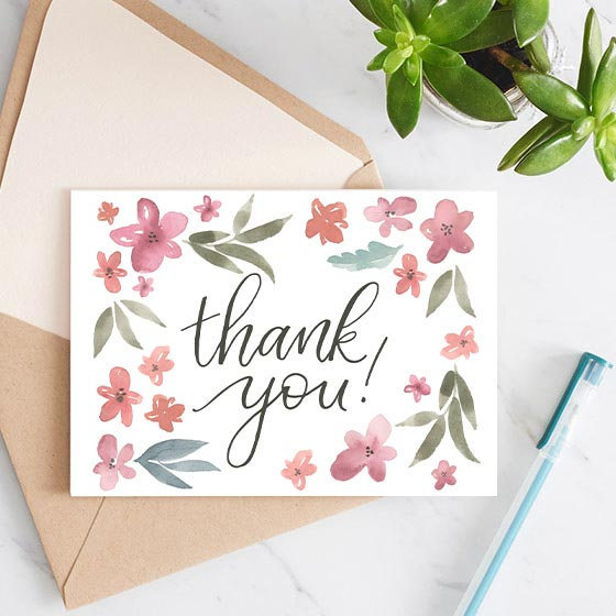 Floral Design Custom Thank You Note