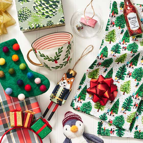 A collection of holiday gifts and ornaments.