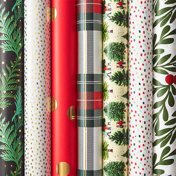 An Array of Holiday Wrapping Paper Rolls