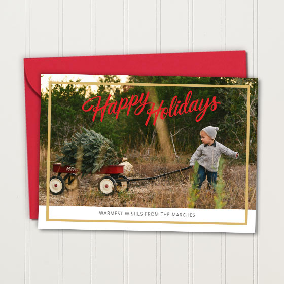 Customizable Holiday Card featuring a Foil Border and Photo