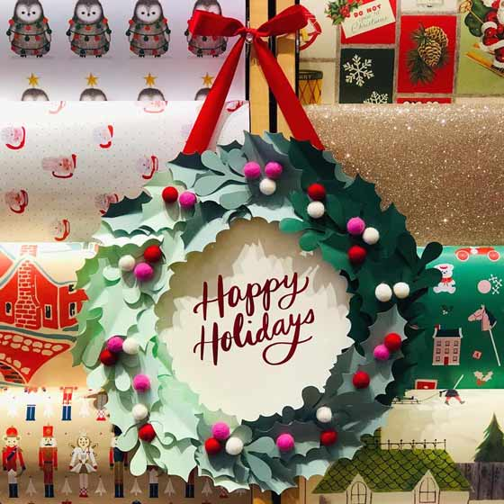 Happy Holidays Paper Crafting Wreath
