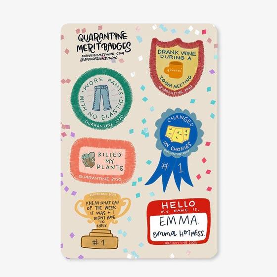 Funny Quarantine Merit Badges Sticker Set