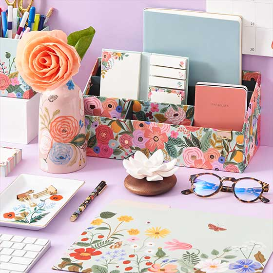 An array of beautiful floral office items