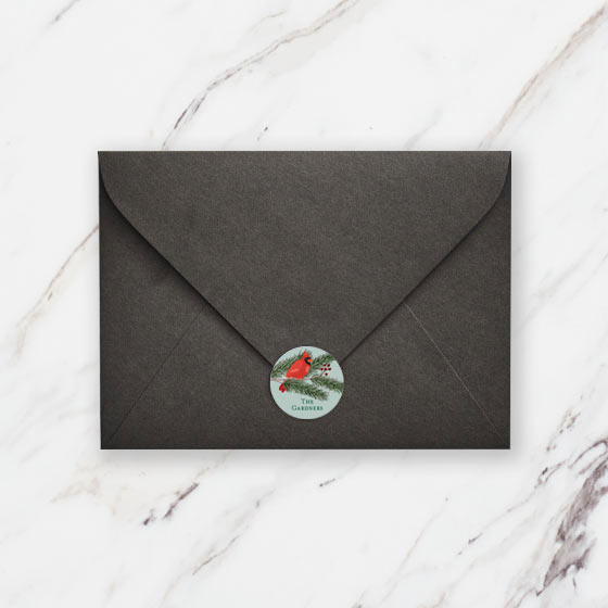 Personalized Envelope Seals shown with a Holiday Design