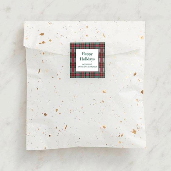 Tartan Design Custom Gift Tag Label shown on a Party Favor Bag