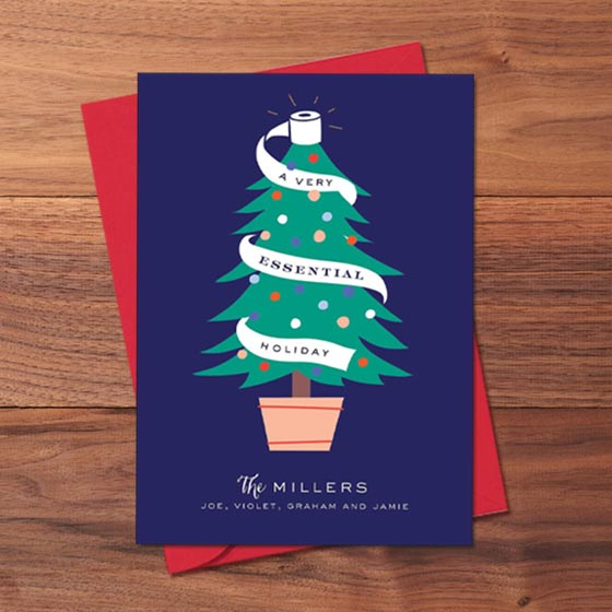 Customizable Holiday Greeting Card with Christmas Tree Wrapped in Toilet Paper
