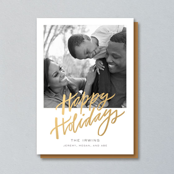 Custom Photo Cards with Happy Holidays written in Gold Foil