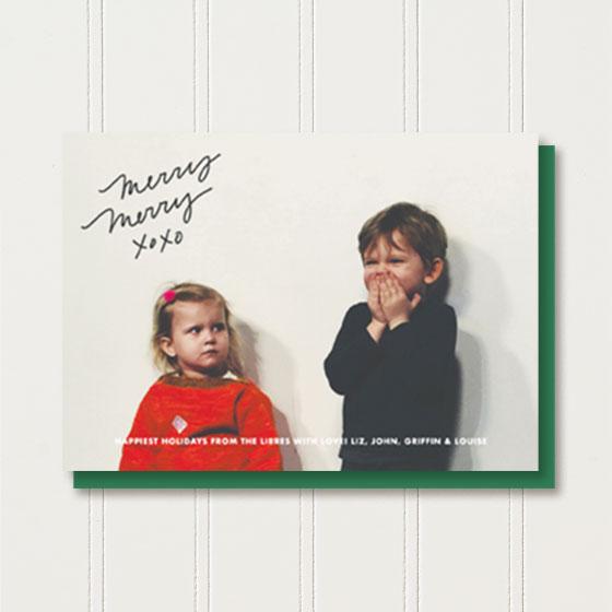 Custom Photo Greeting Card reading Merry Merry XOXO