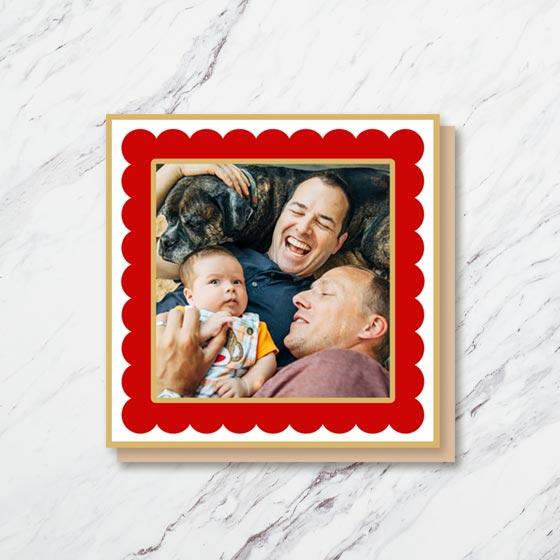 Square Custom Photo Card with a scallop border design