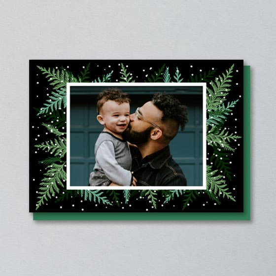 Custom Photo Card that has Cedar Branches designed around the photo