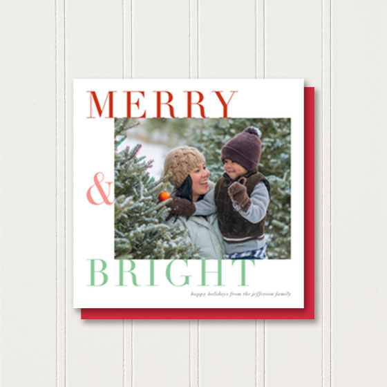Custom Square Photo Greeting Card reading Merry & Bright