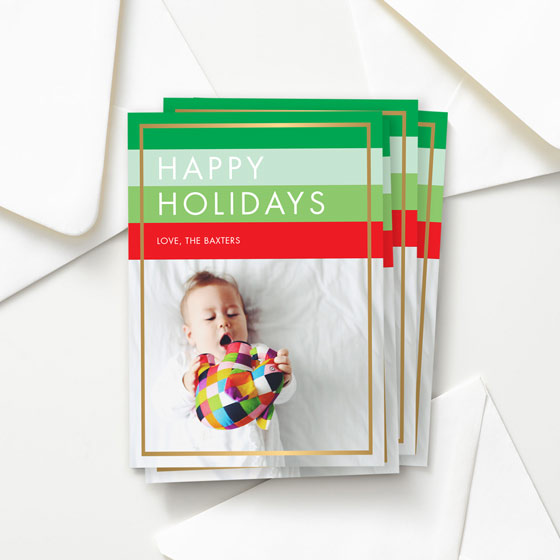 Holiday Hues Custom Greeting Card with bright colors and a gold foil border
