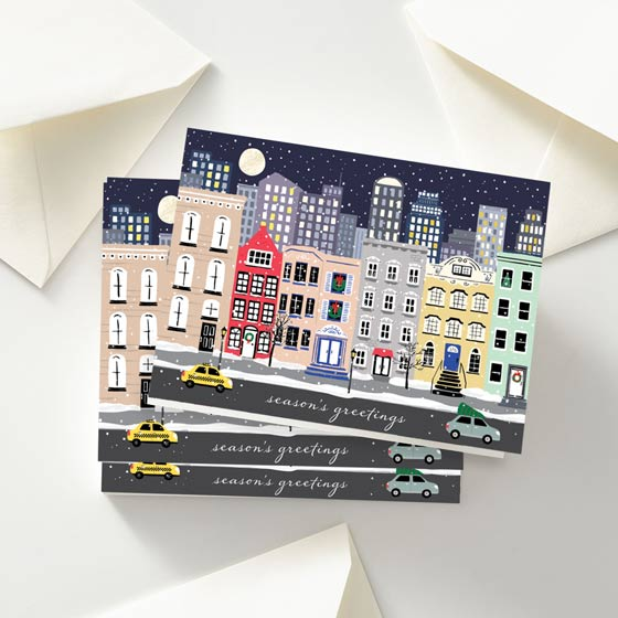 Snowy City Folded Custom Greeting Card designed by Paper Source