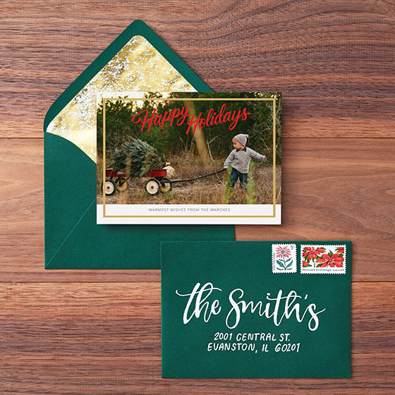 Custom Holiday Photo Card with Gold Foil Border and a Hand Lettered Envelope