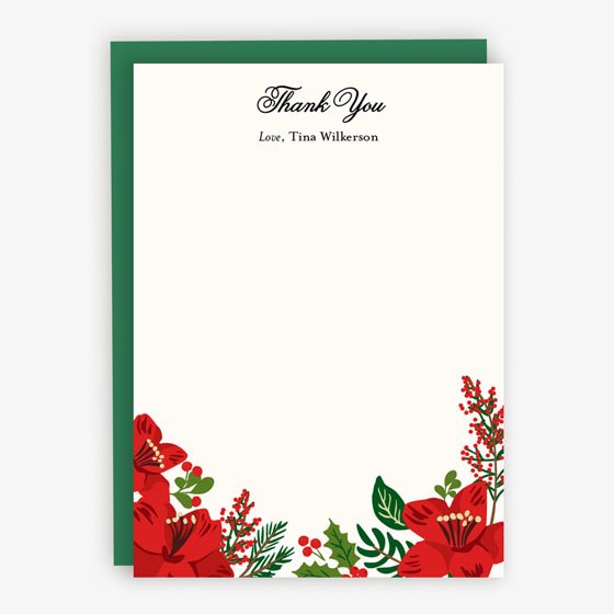 Holiday Floral Custom Stationery