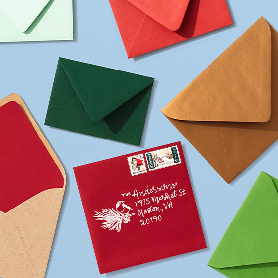An array of different colored envelopes