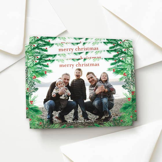 Pine Wreath Border Custom Holiday Postcard designed by Paper Source