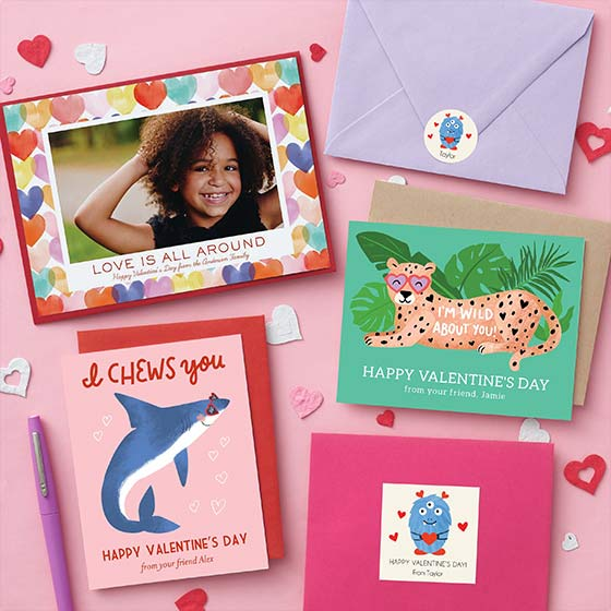 Assorted Custom Valentine Designs Including Photo Cards and Classroom Valentines