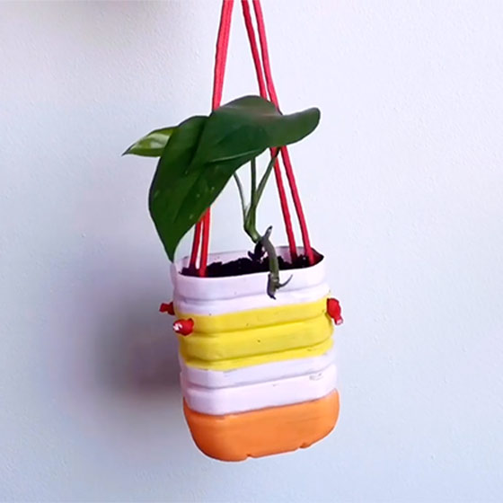 Make Your Own Recycled Bottle Planter Video.