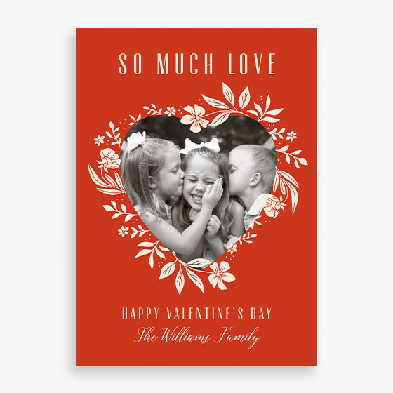 Floral Heart design custom Valentine's Day Photo Card