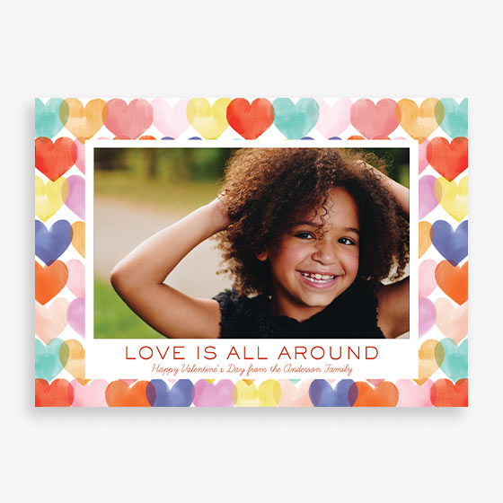 Watercolor Hearts design Custom Valentine's Day Photo Card