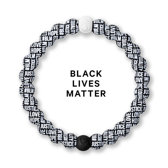 Black and White Bracelet that has the words #BLM, Hope, Equality, Justice, and Love printed in a pattern that covers it