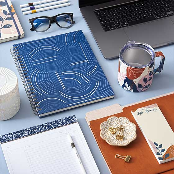 Assorted stationery and desk items from the Breath of Fresh Air Collection