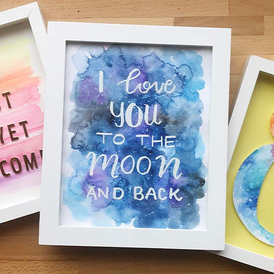 Galaxy Watercolor Framed Painting