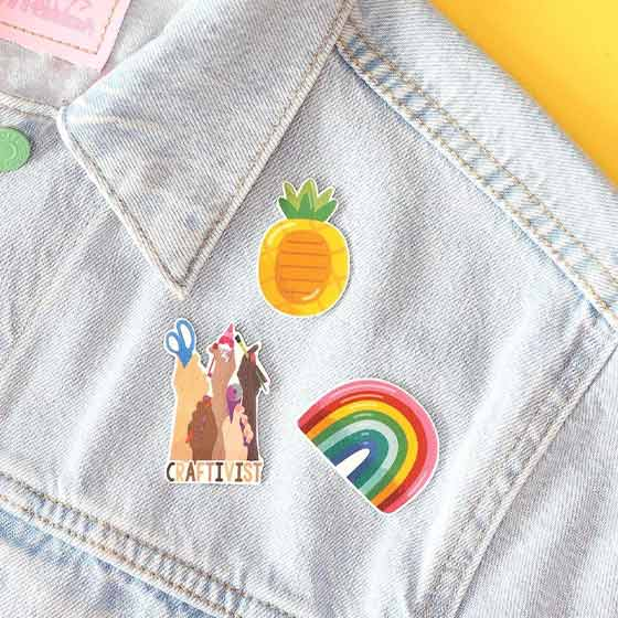 Fun stickers shown on a jean jacket