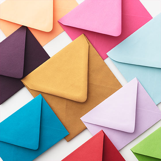 Colorful display of various envelopes.