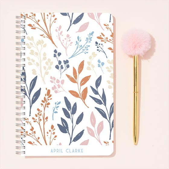 Custom Journal with floral sprigs design.