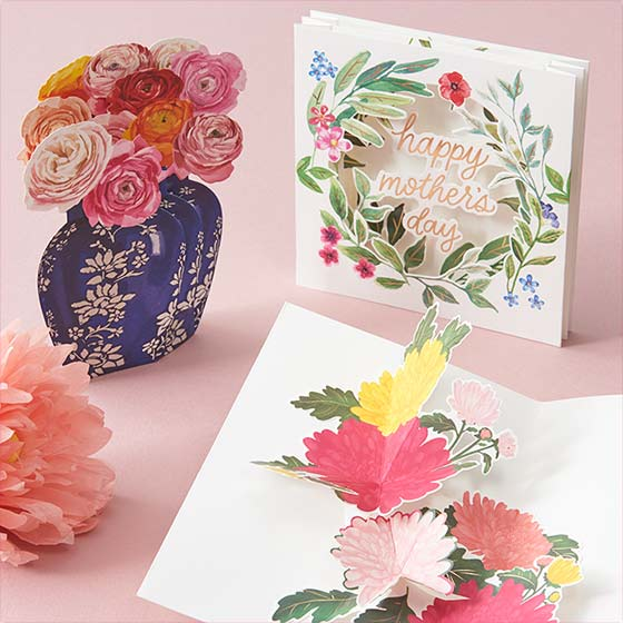 Beautiful floral themed Mother's Day pop up cards.