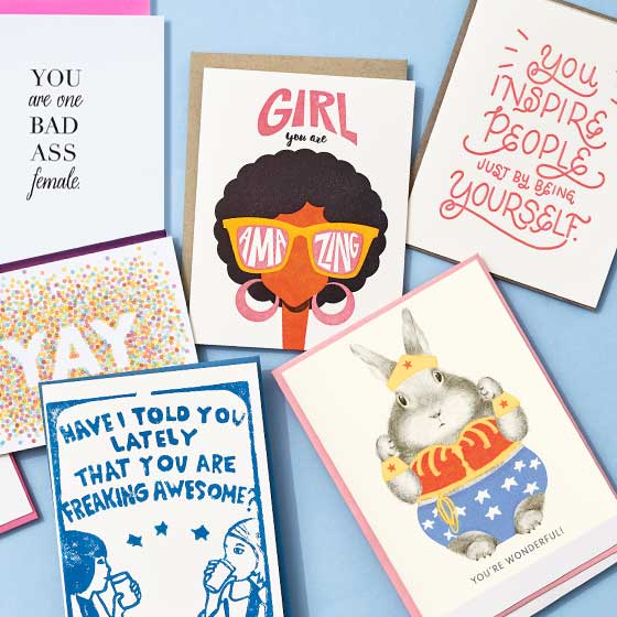 An array of inspirational and friendly greeting cards