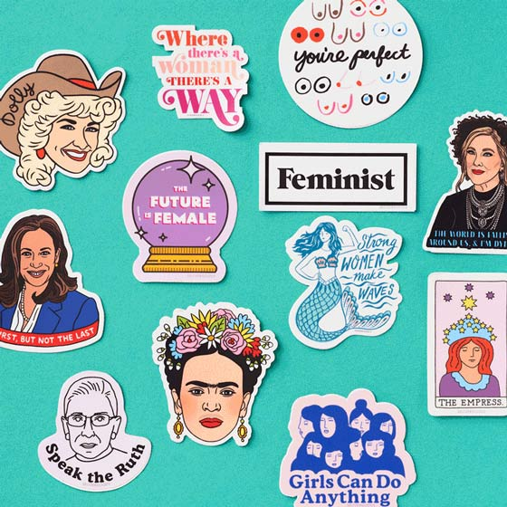 Fun stickers of stickers celebrating Women's History, including Kamala Harris, Dolly Parton, Frida Kahlo and Ruth Bader Ginsburg