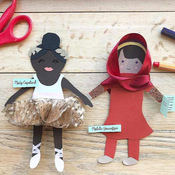 Creatively crafted Paper Dolls of Malala Yousafzai and Misty Copeland