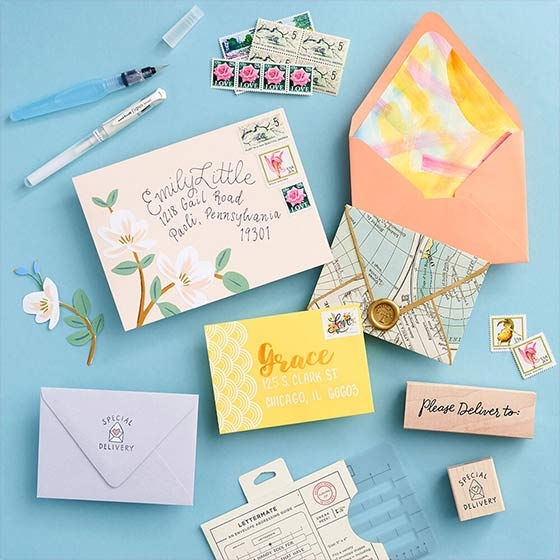 Insta-worthy Envelopes Workshop displaying beautifully customized envelopes.