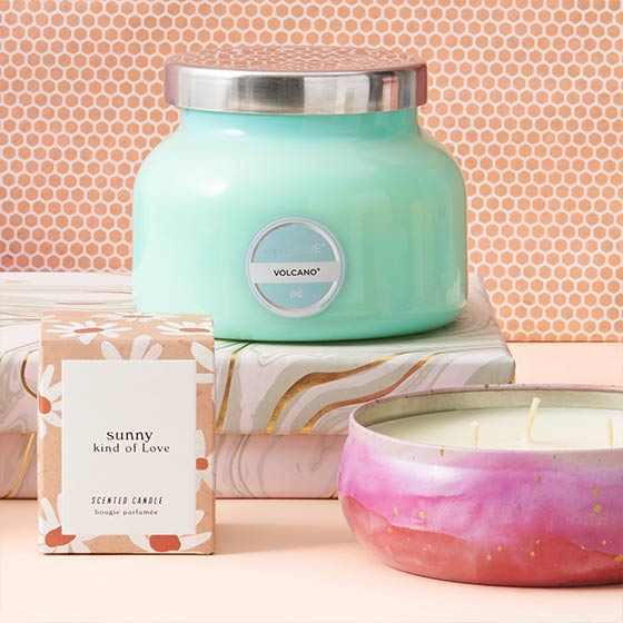 Three beautiful scented candles in watercolor, floral and jade themes.