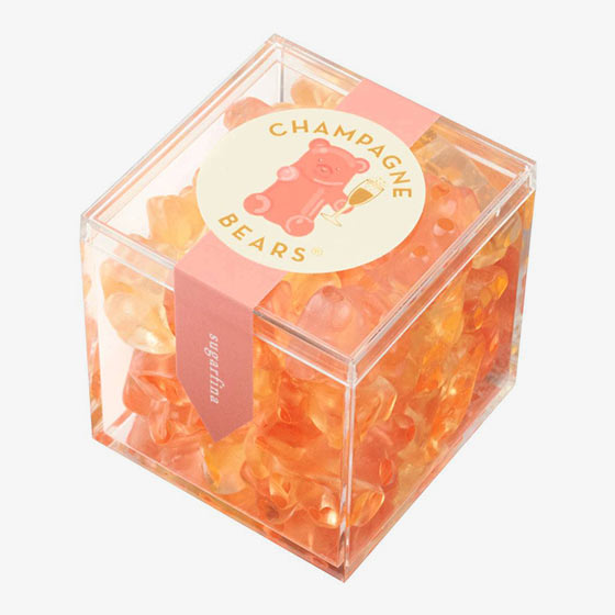Infused with bubbly champagne, these sophisticated gummy bears from Sugarfina sparkle in flavors of Brut and Rosé.