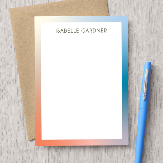 Customizable stationery with colorful gradient border design.