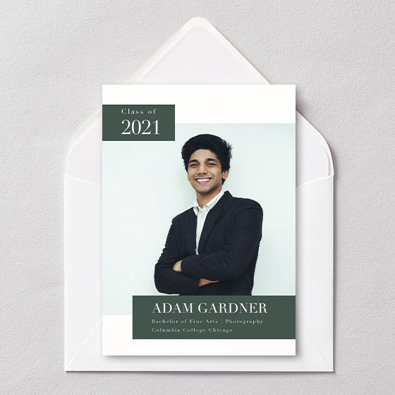 Customizable graduation announcement with a section for a photo of the graduate.