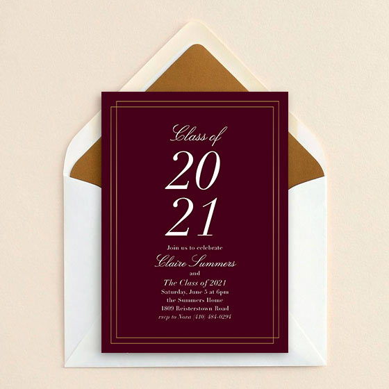 Customizable graduation celebration invitation shown with a fig-colored background and elegant foil stamp border.