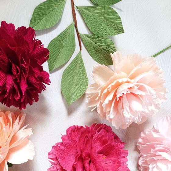 Paper peonies, the paper flower of the month for September.
