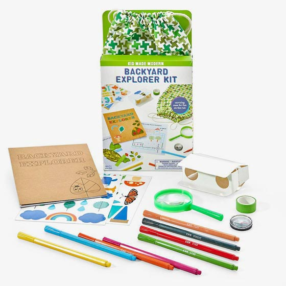 Backyard explorer kit comes with an activity book, 8 markers, 1 paper tube, 2 sticker sheets, a magnifying glass, paper binoculars and a compass.