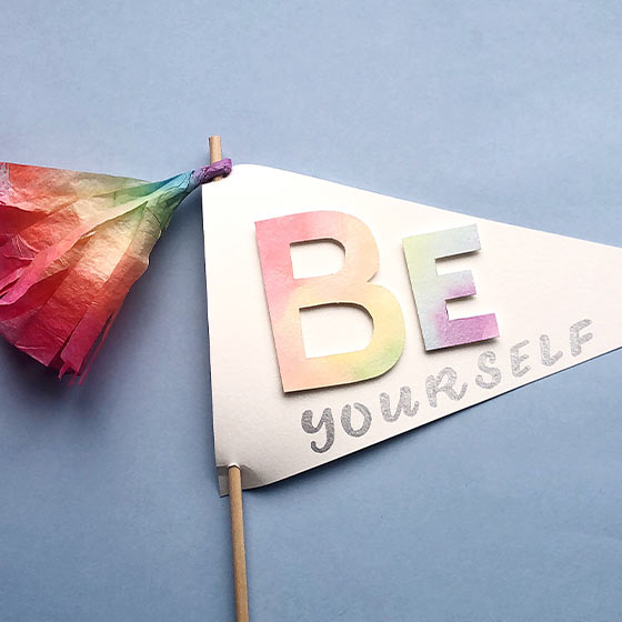 Colorful DIY Banner that reads, Be Yourself.