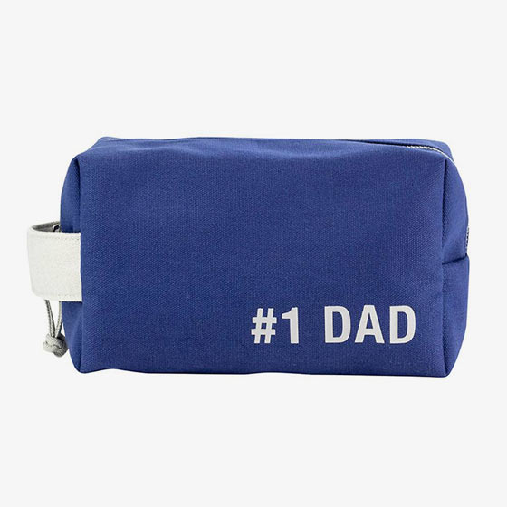 Durable blue canvas dopp bag that reads, Number one dad.